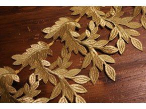 Zlatá nažehlovací krajka ve tvaru větvi, 21,5cm