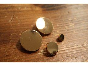 Zlatý kovový knoflík s ouškem, 4 velikosti