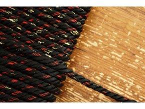 Černý kroucený provaz s lurexem