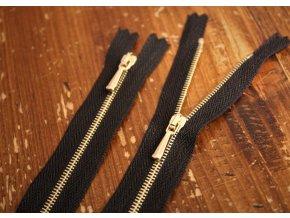 Černý zip se zlatým kovem,  14cm, 30cm, 40cm, 60cm, 70cm, 80cm