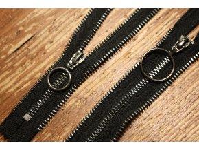 Černý zip s ozdobnou stuhou, 14cm, 25cm, 50cm