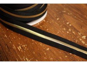 Černá guma s zlatým pruhem, 20mm