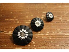 Černé knoflíky s kamínkem v 3 velikostech