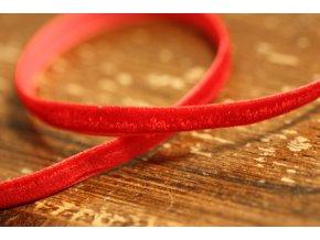 Červená sametová stuha, 6mm