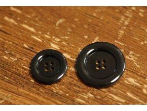 Černý lesklý knoflík ve 2 velikostech