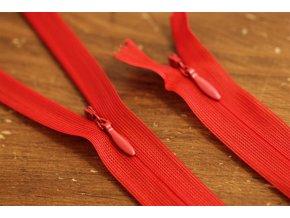 Skrytý zip v červené barvě, 20 cm, 35cm, 55cm
