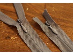 Skrytý zip v šedé barvě, 20cm  35cm, 55cm