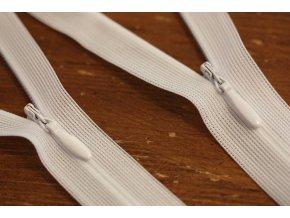 Skrytý zip v bílé barvě, 20 cm, 35cm, 60cm