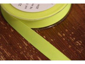 Neonově žlutá rypsová stuha, 16 mm