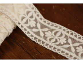 Bílá týlová krajka s výšivkou, 45mm
