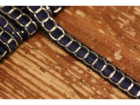 Modro-zlatý prýmek ve stylu Chanel, 12mm
