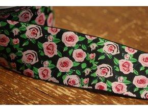 "Černá žakárová stuha ""růže"", 60mm"