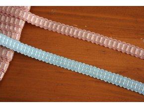 Úzký prýmek v růžové a modré barvách, 12mm