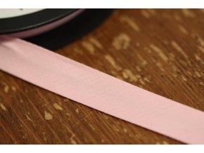 Světle růžový gabardénový šikmý proužek 15 mm