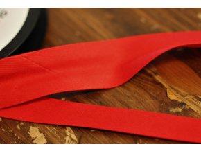 Červený gabardénový šikmý proužek 15 mm, 25 mm