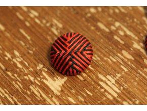 """Červeno-černý knoflík """"pyramida"""",  25mm"""