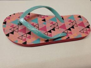 Juniorské žabky Aquawave Padma Jr conch shell triangle print aqua splash (velikost obuvi 35)