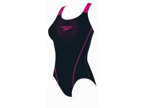 Dámské plavky Speedo Gala Logo Medalist black/electric pink (velikost 36)
