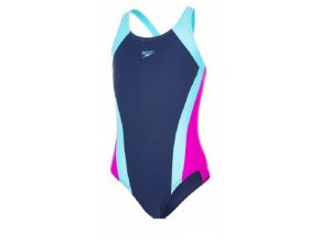 Dívčí plavky Speedo Contrast Panel tm. modrá /tm.  růžová (velikost 116)