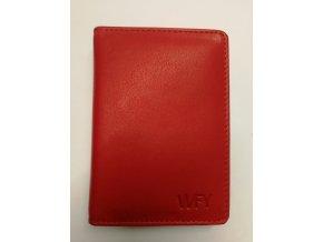 133973 wfy 416 red kozene pouzdro na vizitky nebo kreditni karty