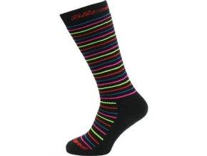 Juniorské lyžařské ponožky Blizzard Viva allround ski socks junior , black / rainbow stripes (velikost: 39-42)