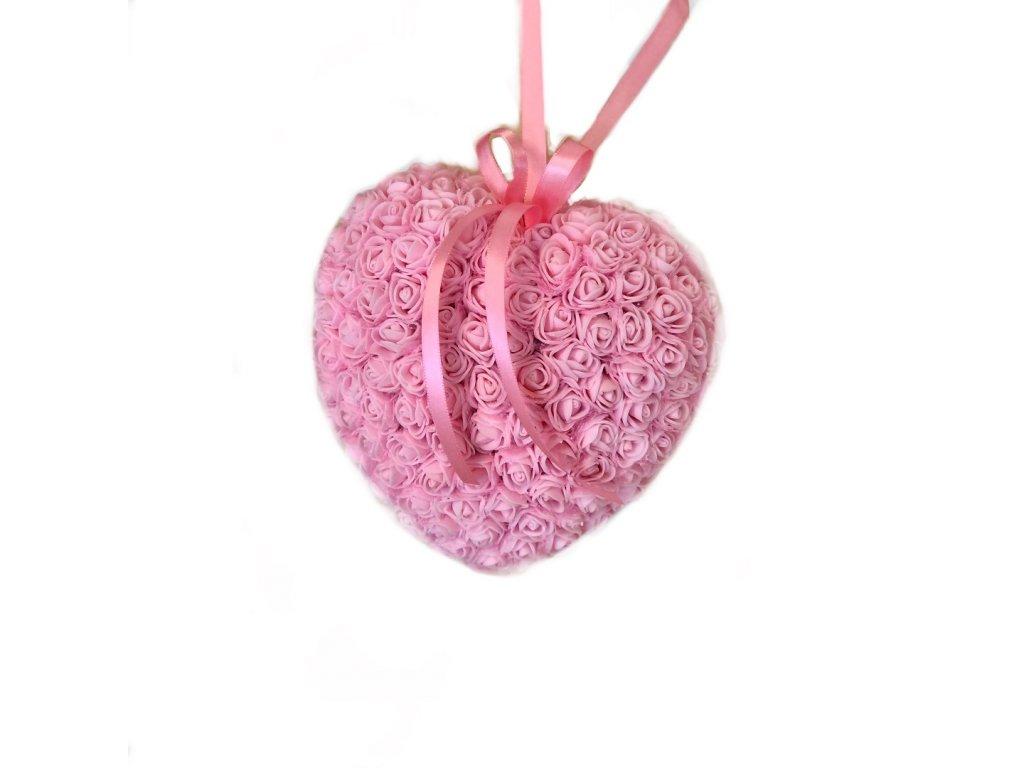 Srdce z růžiček ve světle růžové barvě 18 cm