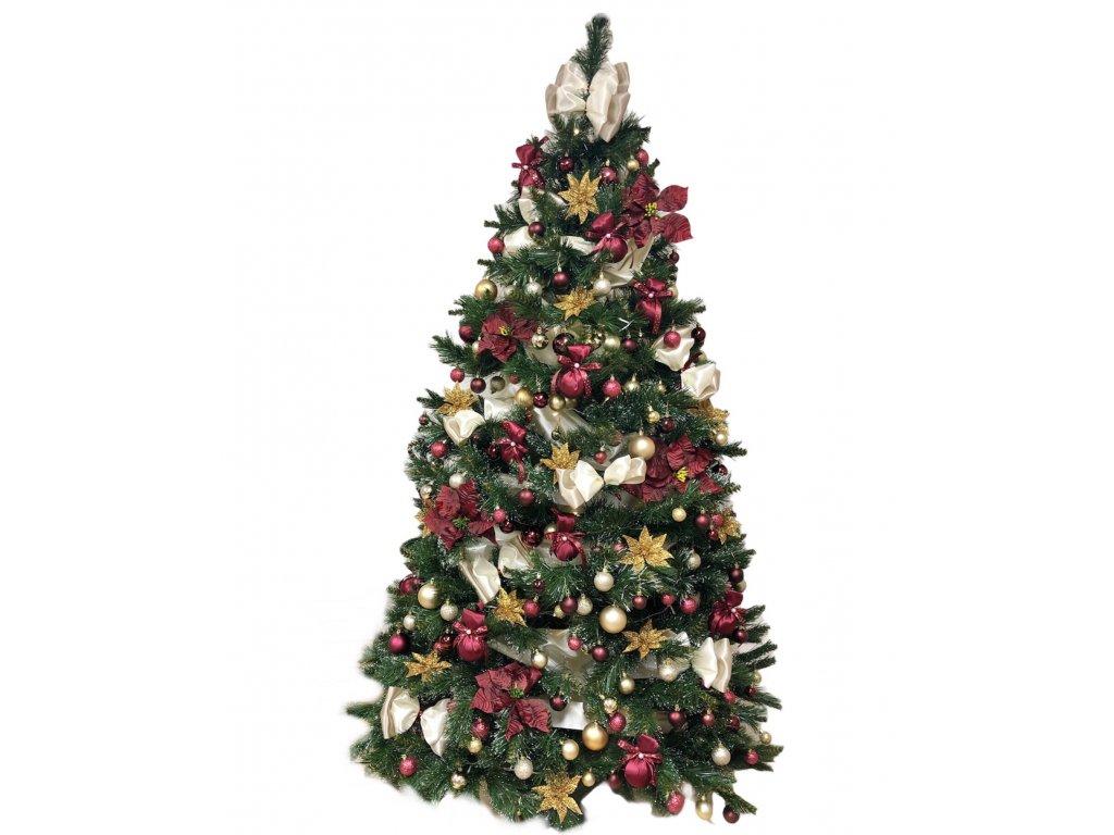 Sada ozdob o 108 kusech ve vínovo - zlaté barvě na velikost stromu 150 cm