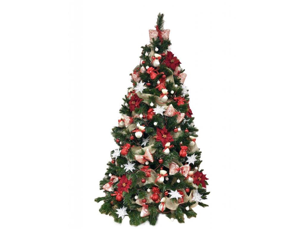 Sada ozdob o 63 kusech v červeno - bílé barvě na velikost stromu 150 cm