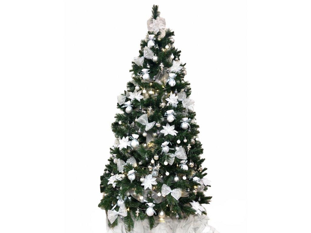 Sada ozdob o 153 kusech ve stříbrno - šedé barvě na velikost stromu 210 cm