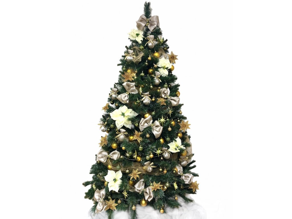 Sada ozdob o 151 kusech v zeleno - zlaté barvě na velikost stromu 210 cm
