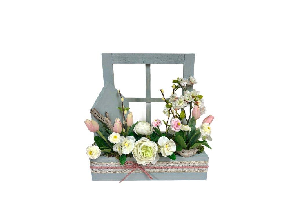 Jarní truhlík dřevěný v šedé barvě s bílými a růžovými květinami 42 cm