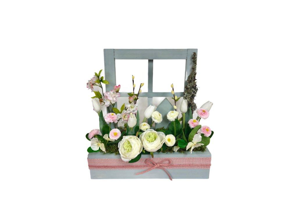 Jarní truhlík dřevěný v šedé barvě s bílými a světle růžovými květinami 42 cm