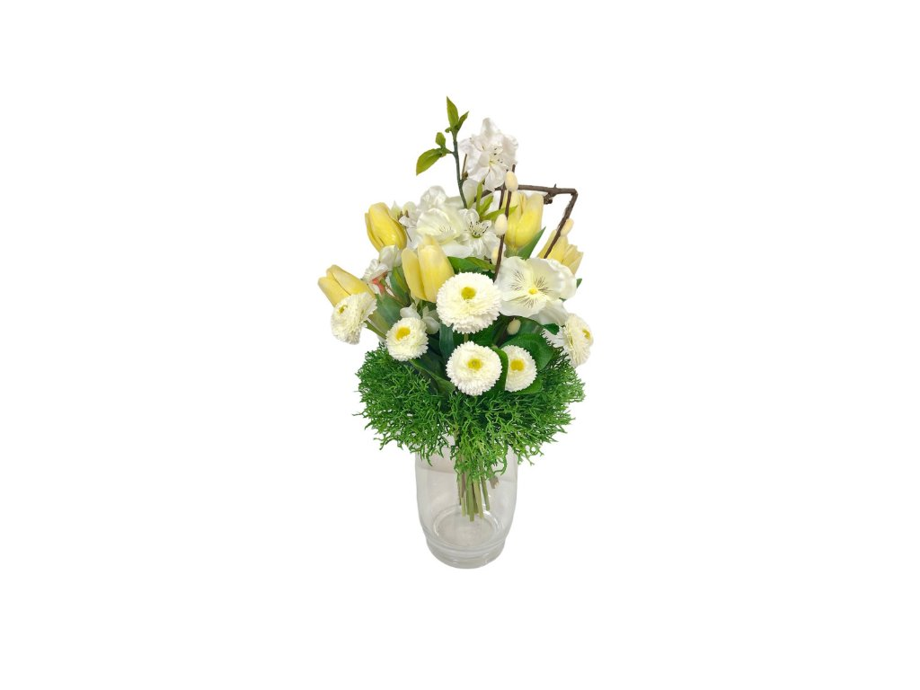 Jarní umělá kytička z tulipánů, macešek a chudobek ve žluté barvě 35 cm