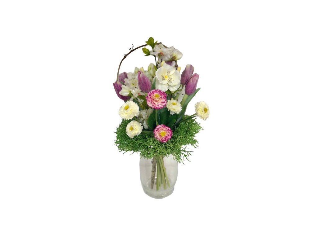 Jarní umělá kytička z tulipánů, macešek a chudobek v bílo-fialové  barvě 35 cm