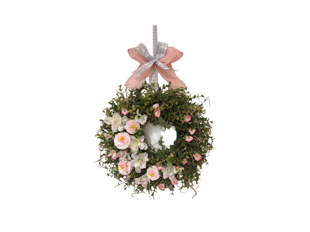 Dekorace jarní věnec závěsný s růžovými květinami 35 cm