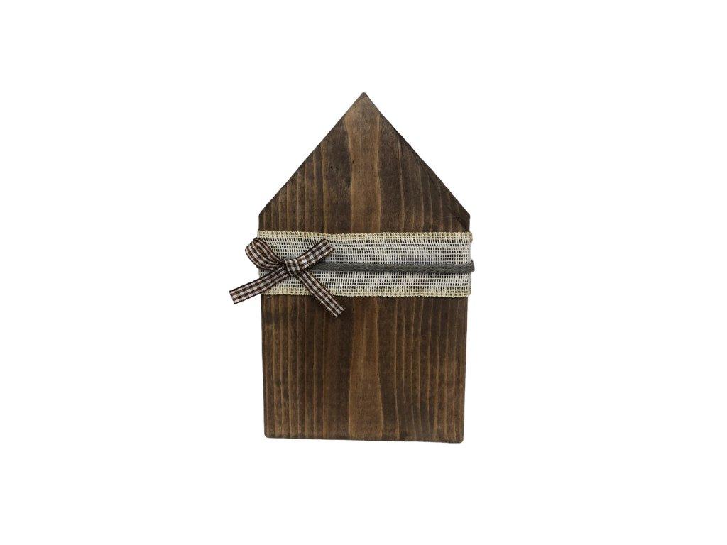 Dekorace dřevěný domeček na postavení z tmavého přírodního dřeva 24 cm