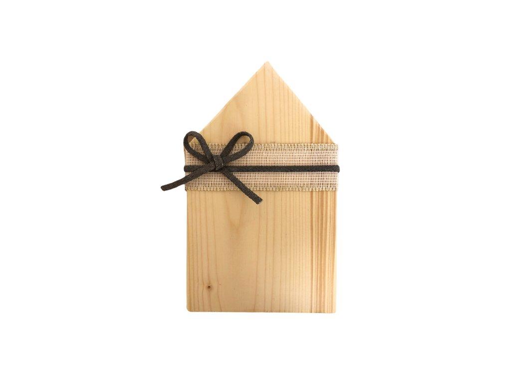 Dekorace dřevěný domeček na postavení ze světlého přírodního dřeva 24 cm