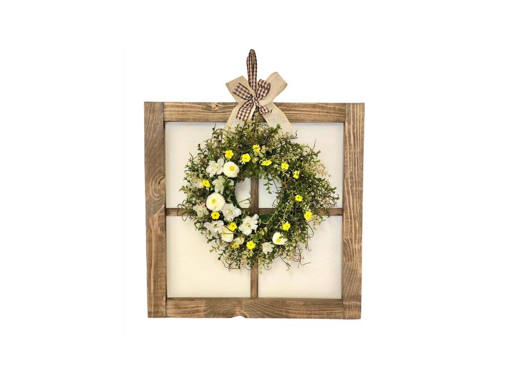 Závěsná dekorace dřevěné okno tmavé s jarním věnečkem 50 cm