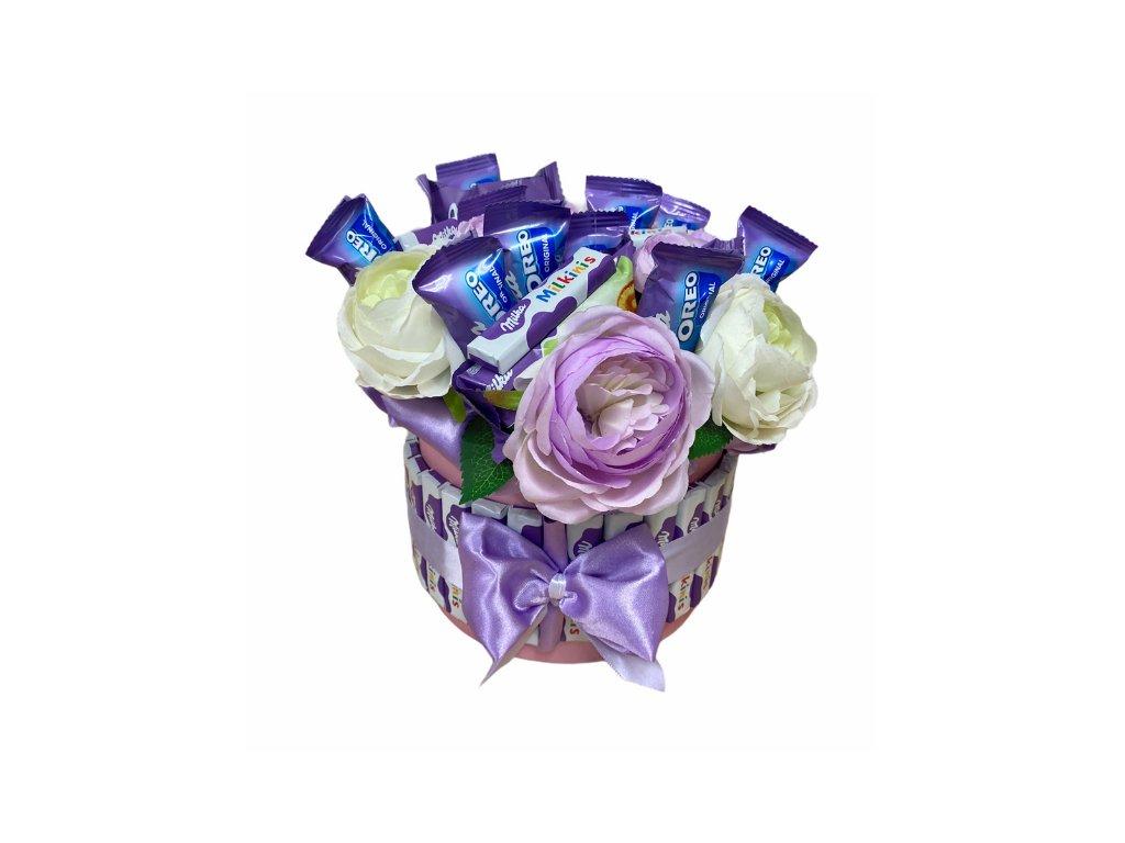 Květinový box fialový s Milka dobrotami 27 cm