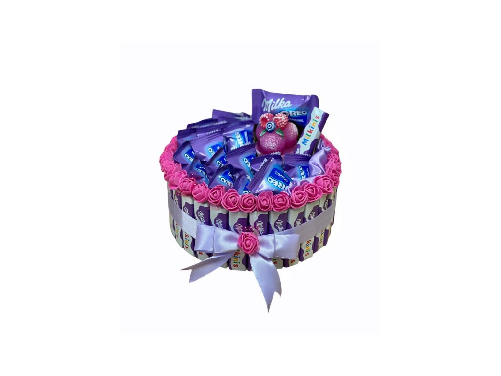 Milka jednopatrový dort se svíčkou 23 cm