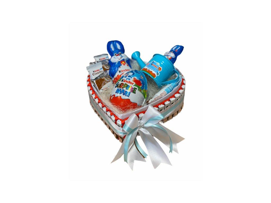 Velikonoční dárkový box ve tvaru srdce z Kinder dobrot modrý 30 cm