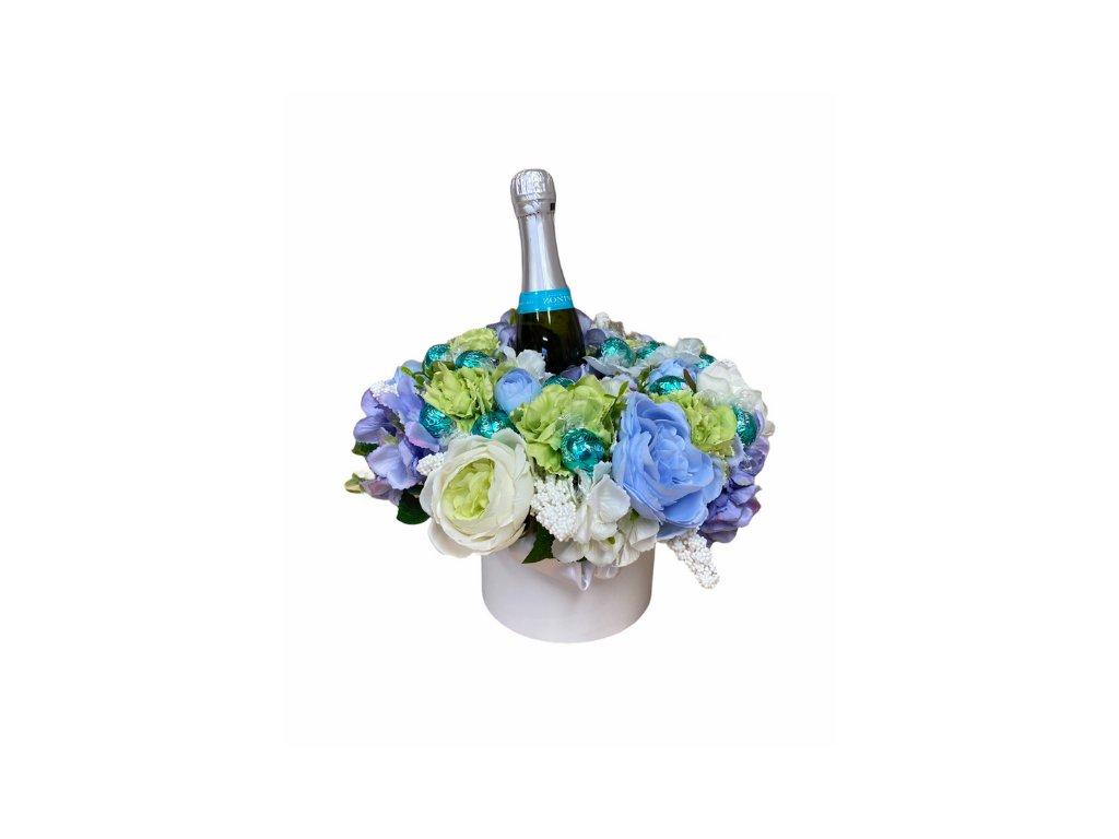Květinový box z pryskyřníků modrý s Lindt bonbóny a sektem 35 cm
