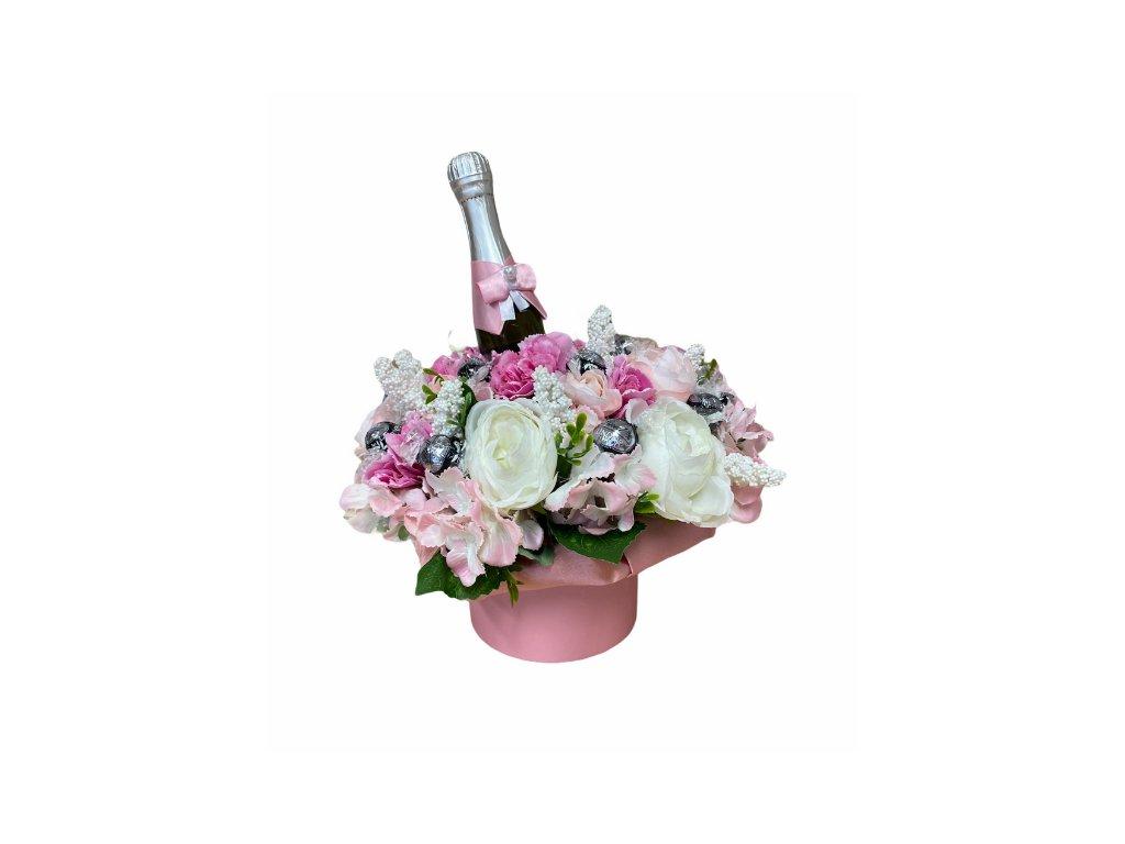 Květinový box z pryskyřníků růžový s Lindt bonbóny a sektem 35 cm