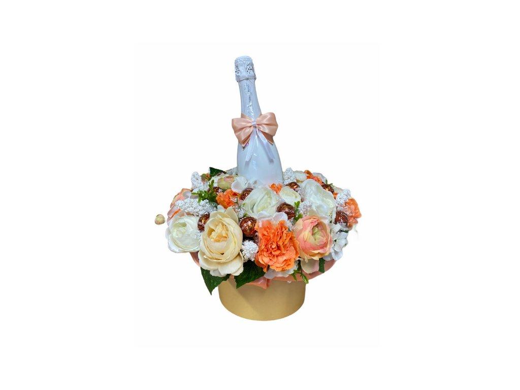 Květinový box z pryskyřníků oranžový větší s Lindt bonbóny a sektem 47 cm