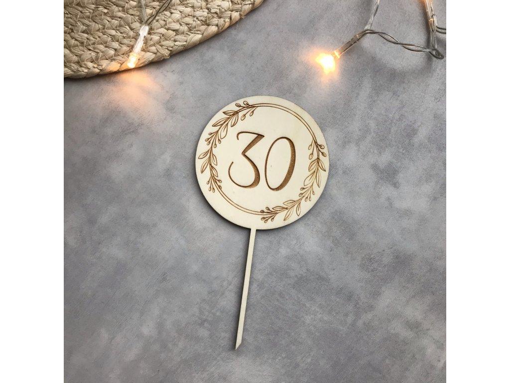 86 Zápich do dortu číslo v kolečku s lístečky