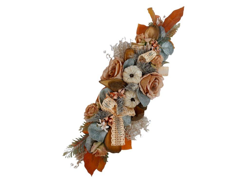 Podzimní dekorace šála na postavení nebo pověšení s krémovými dýněmi a růžemi 50 cm