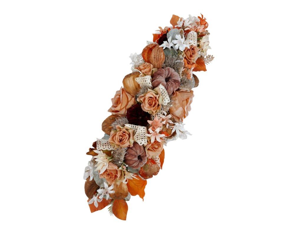 Podzimní dekorace šála na postavení nebo pověšení s růžovými dýněmi a růžemi 52 cm
