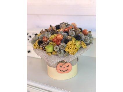 Podzimní box s achileou, hruškami, bodláky a dřevěnou dýní