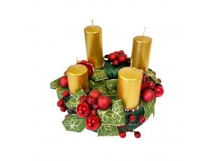 Vánoční adventní věnec moderní červeno-zelený 24 cm