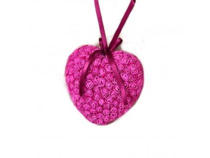 Srdce z růžiček v tmavě růžové barvě 18 cm